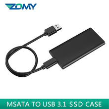 Zomy msata ssd case aluminum 10Gbps SSD portable hard disk box 3*3/3*5 msata to usb 3.1 type-c mobile solid state disk enclosure