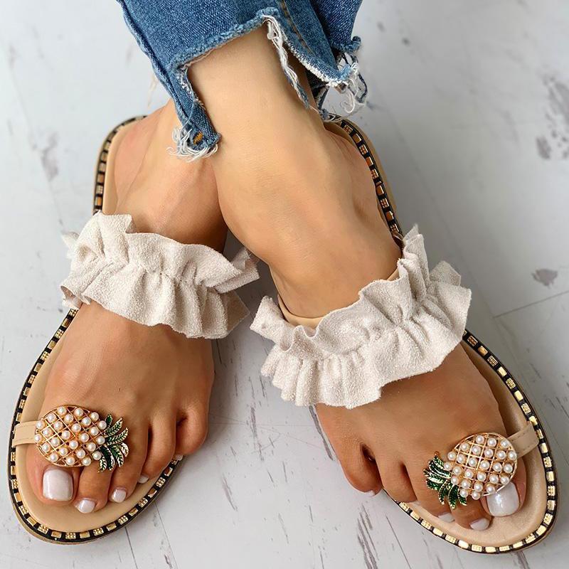 DAHOOD Women Summer Flat Sandals 2019  Pearl Spilt Toe Slip On Flip Flops Pineapple Summer Beach Slides Casual Shoes Slipper