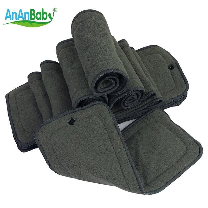 Ananbaby Infant Cloth Diapers Bamboo Charcoal Insert Nappy Changing Mat Baby Diapers Reusable Diaper Changing Pad 5pcs HA024K