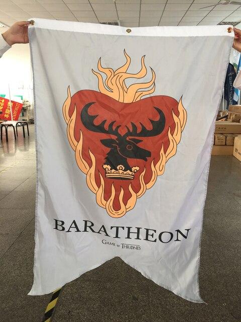 """משחקי כס החורף מגיע baratheon דגל באנר 90X150 ס""""מ עם 3 לולאות הדפסה דיגיטלית"""