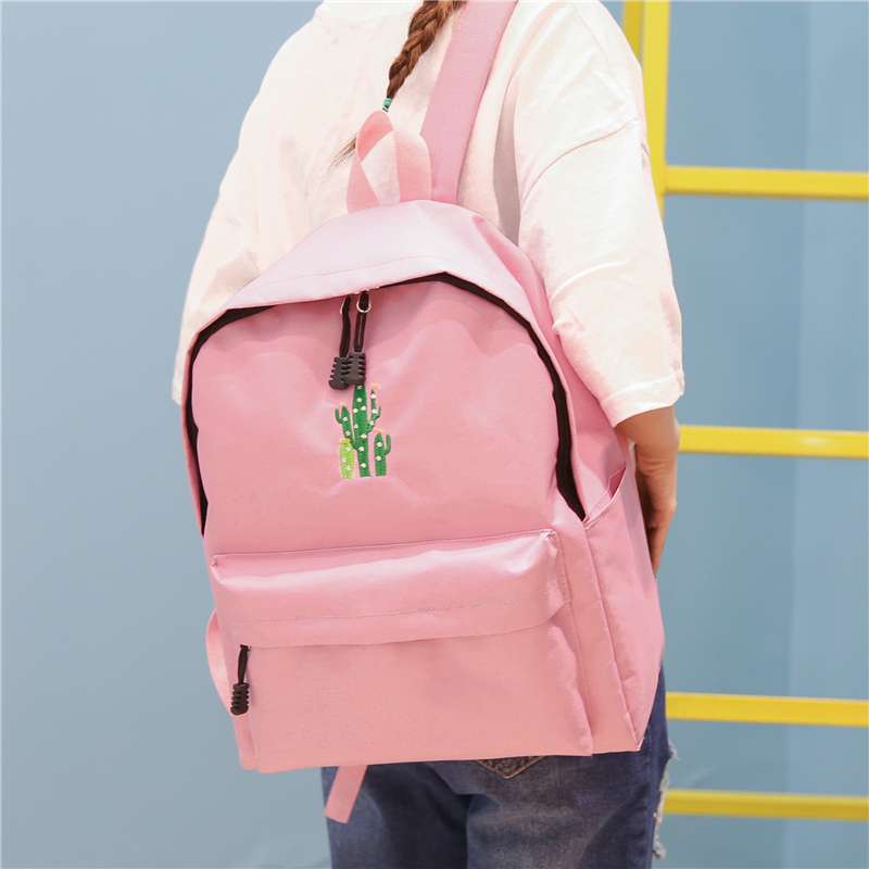 New Cactus Embroidery Simple Canvas Backpack Students School Women Girl Rucksack Mochila Escolar Women Backpack (42)