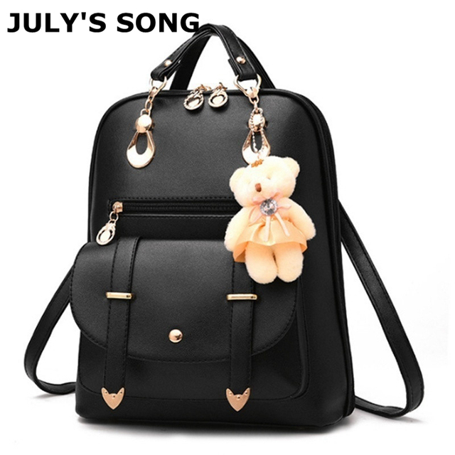 7222311d0b JULY S SONG 9 Colors PU Leather Women s Backpack Schoolbag For Teenager Girl  Lady Trend Wild Bag Casual Lovely Bag With Bear Toy