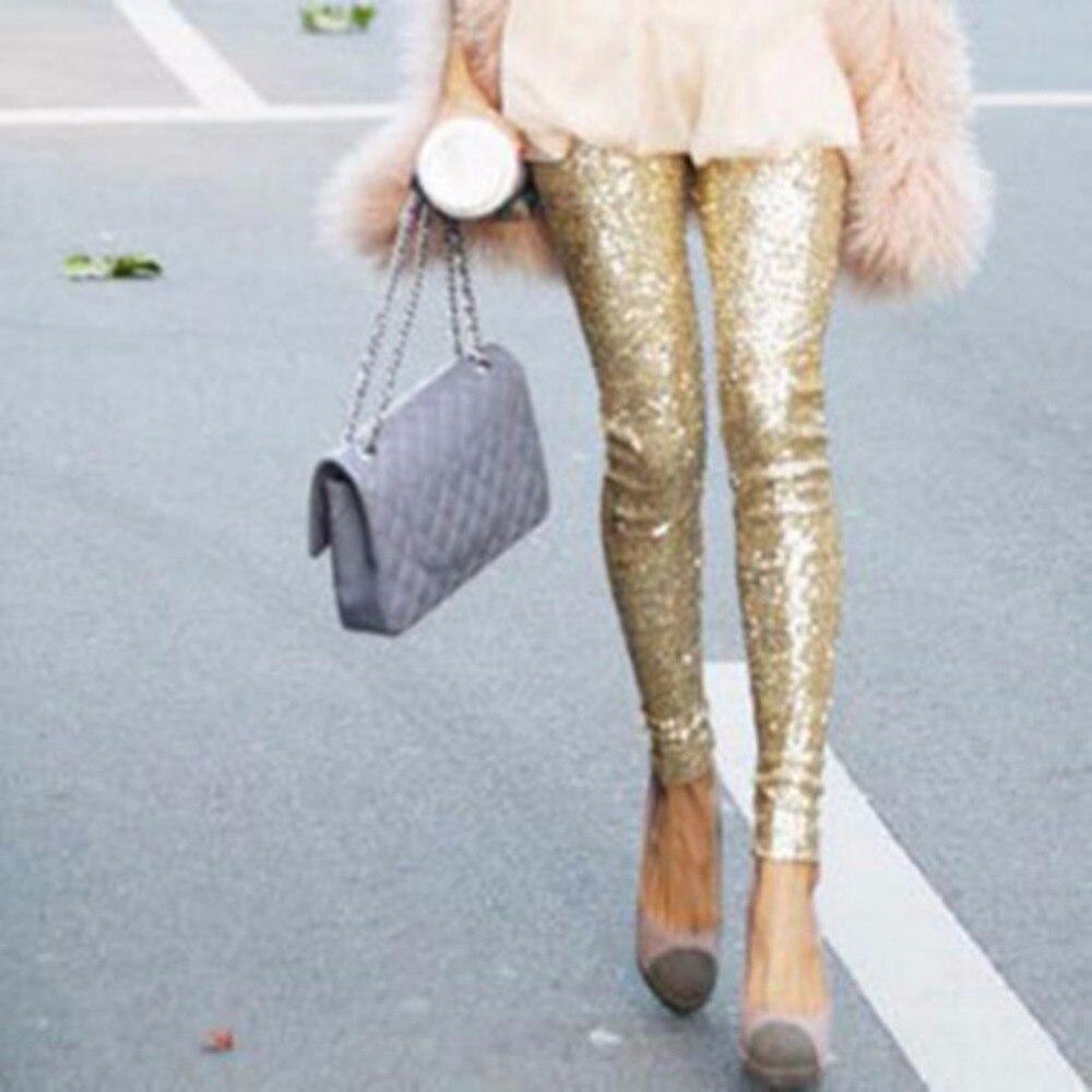 Elastic Leggings Pencil-Pants Slim Size-S-L Women Bling Sequin Paillette Stretchy