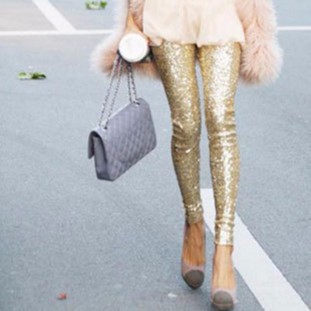 Women Sequin Stretchy Elastic Leggings Bling Paillette Slim Legging Pencil Pants Size S-L