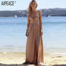 AIPEACE women fashion Party Dress Women Pink  Sexy Cross Back Wrap High Slit Summer Dresses Elegant Club Long Cami Dress velvet lace trim slit cami dress