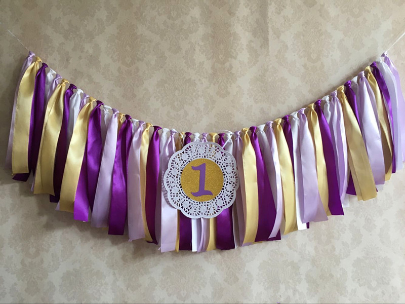 New Purple Gold 1 one Banner Baby High chair Bunting Princess First Birthday Flag 1st Lavender Party Nursery Garland Photo shoot