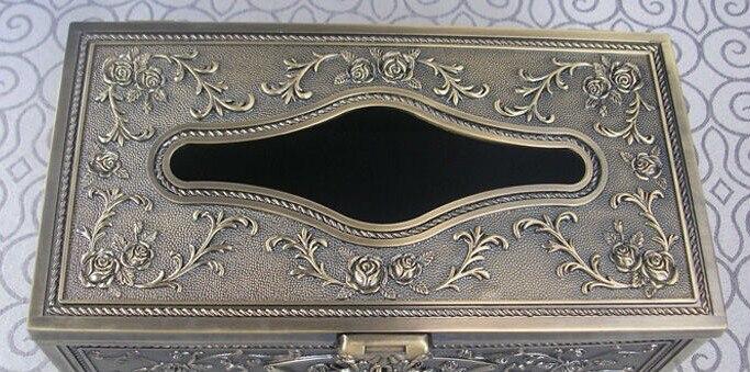 Очень редкая художественная металлическая настольная прямоугольная коробка с одноразовыми салфетками экстракт коробка для салфеток держатель для салфеток бронза 3001