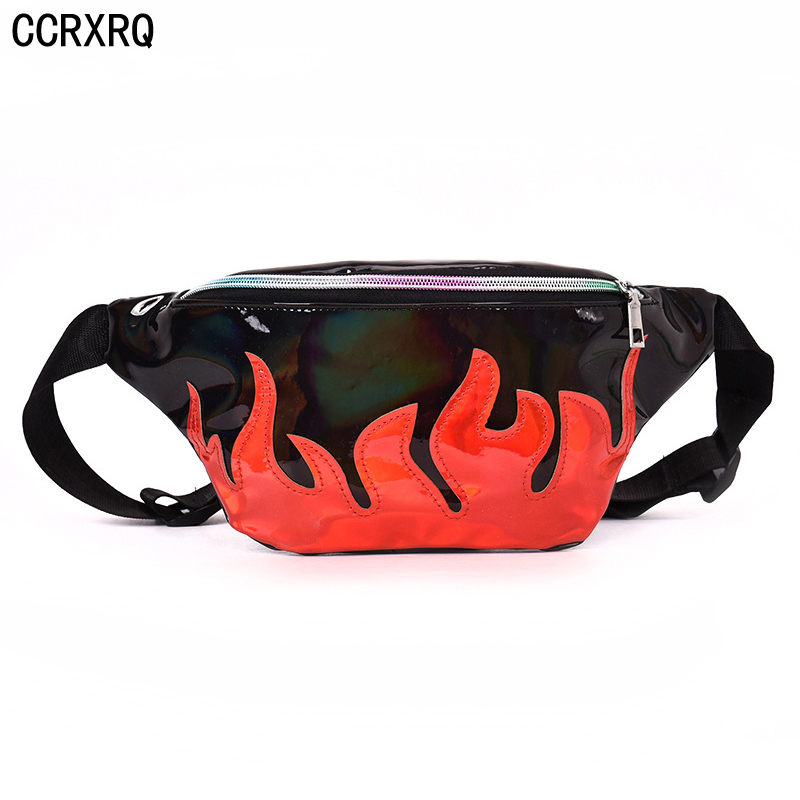 CCRXRQ Red Flame Waist Bags 2019 Fashion Ladies Belt Bags Handy Leather Fanny Pack Woman Messenger Bag Hip Hop Bum Bag Bananka
