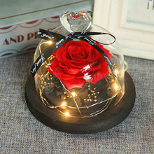 Glass Cover Fresh Preserved Rose Flower Led Light Valentiens Gifts Birthday Gift in a Dome Wedding Decorations