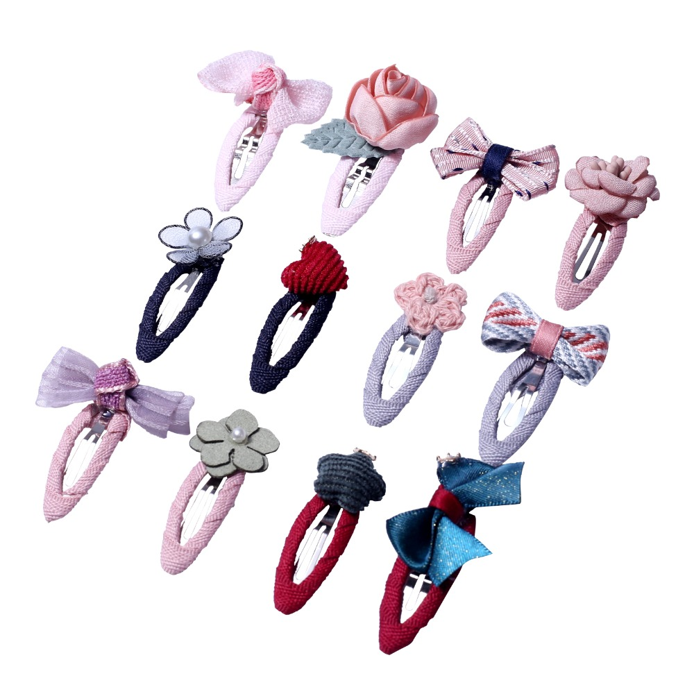 4cm 2pcs Bow Hair Clips For Hair Color Barrettes Cute Kids Children Flower Star Heart Fabric Snap Clip Pins Baby Girls Hairpins
