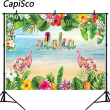 Capisco Aloha Tiki Party Backdrop Hawaii Flamingo Photography Background Vinyl Tropical Beach Luau Birthday Party Backdrops(China)