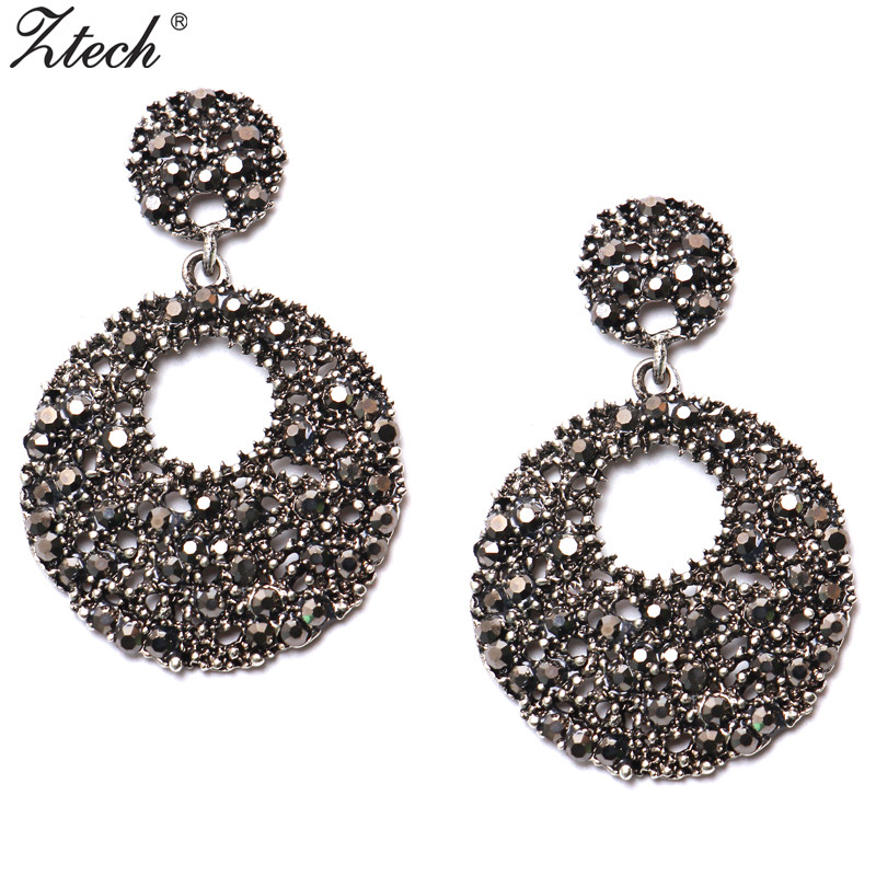 Ztech Luxury Vintage Big Round Earring Drop Earrings para mujeres Crystal Female Christmas Gift Statement Maxi Jewelry