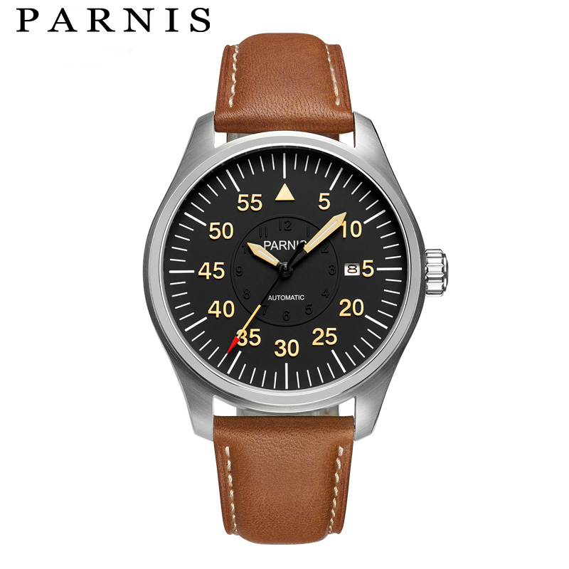 New Fashion 44mm Parnis Sport Watch Men Automatic Black Pvd Case Yellow Number Mechanical Watches цена и фото