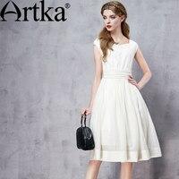 ARTKA Women's Summer New 2 Colors Lace Patchwork Dress Elegant V Neck Sleeveless Empire Waist Wide Hem Dress LA11562X
