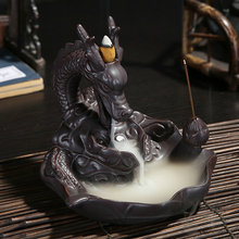 Ceramic Dragon Incense Burner for Smoke Backflow Like Water Streaming Down Art Craft Incense Cone Furnace