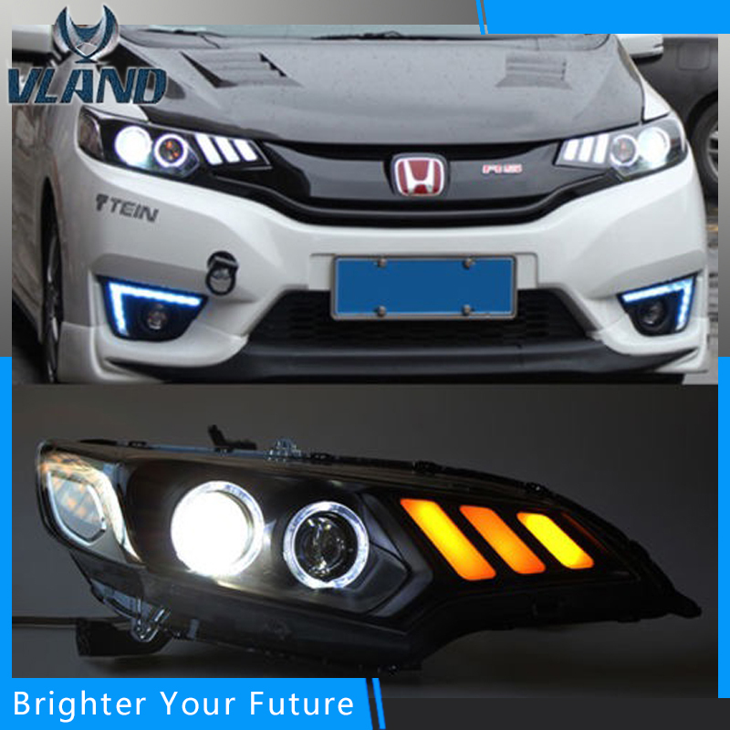 LED Angel Eyes Lights LED Strip Front Headlight For 2014-2016 Honda Fit Headlights Mustang Style led headlight lights angel eyes