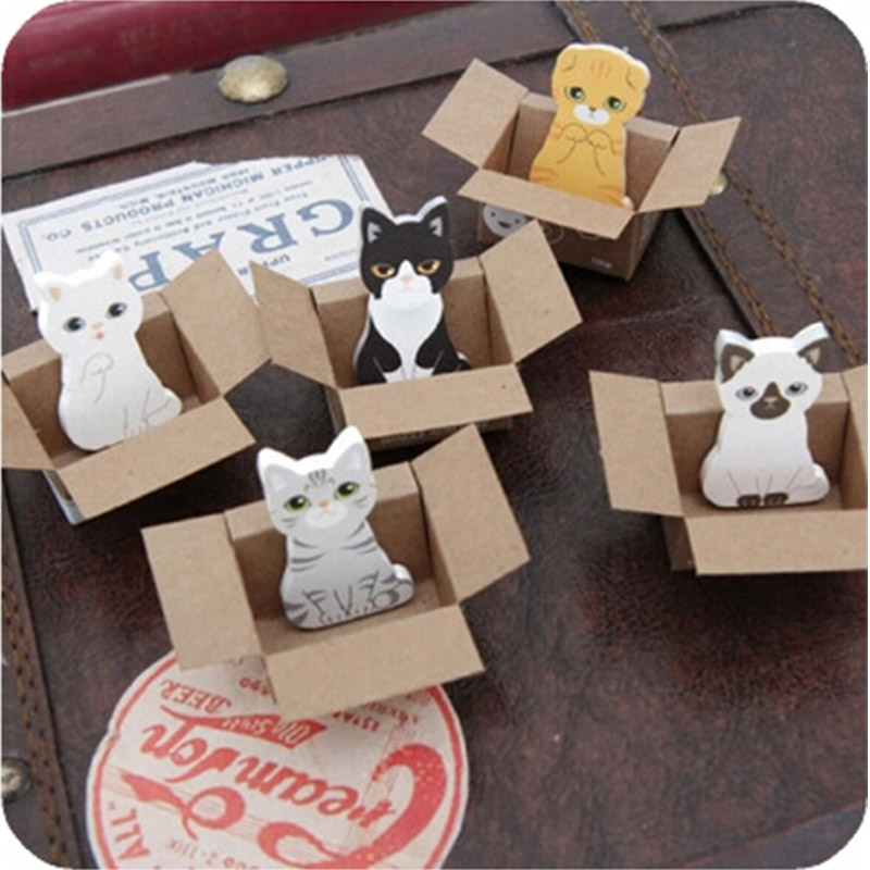 2 Pcs/Lot Cute Cat Animal Paste Memo Pad Planner Sticky Note Paper Sticker Kawaii Stationery Pepalaria Office School Supplies