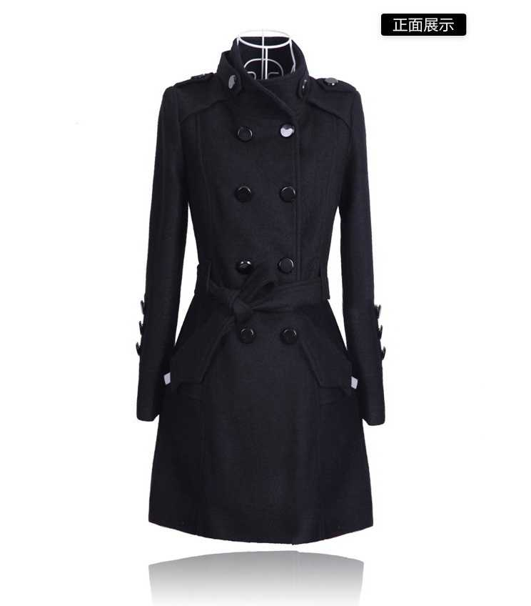2018 neue Herbst/Winter Mode Frauen Graben Stehen kragen Medium langen Wollmantel Lange hülsen-dünnes Big yards Oberbekleidung C210