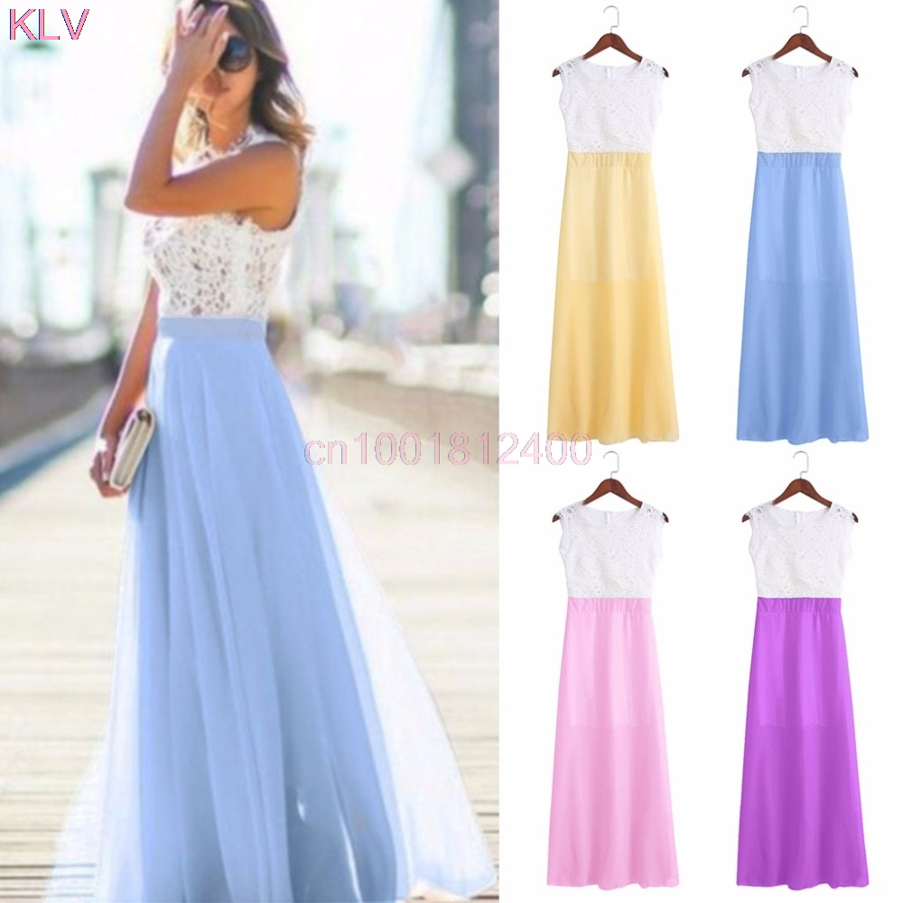 Spring Dress Evening Party Lace Hollow Out Beach Maxi Dress Women Boho Sleeveless W033 HOT SALE