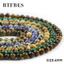 BTFBES 6mm Tiger eye Stone Malachite Gold obsidian Beads Natural stone Round Loose Jewelry Bracelet Making DIY Accessories