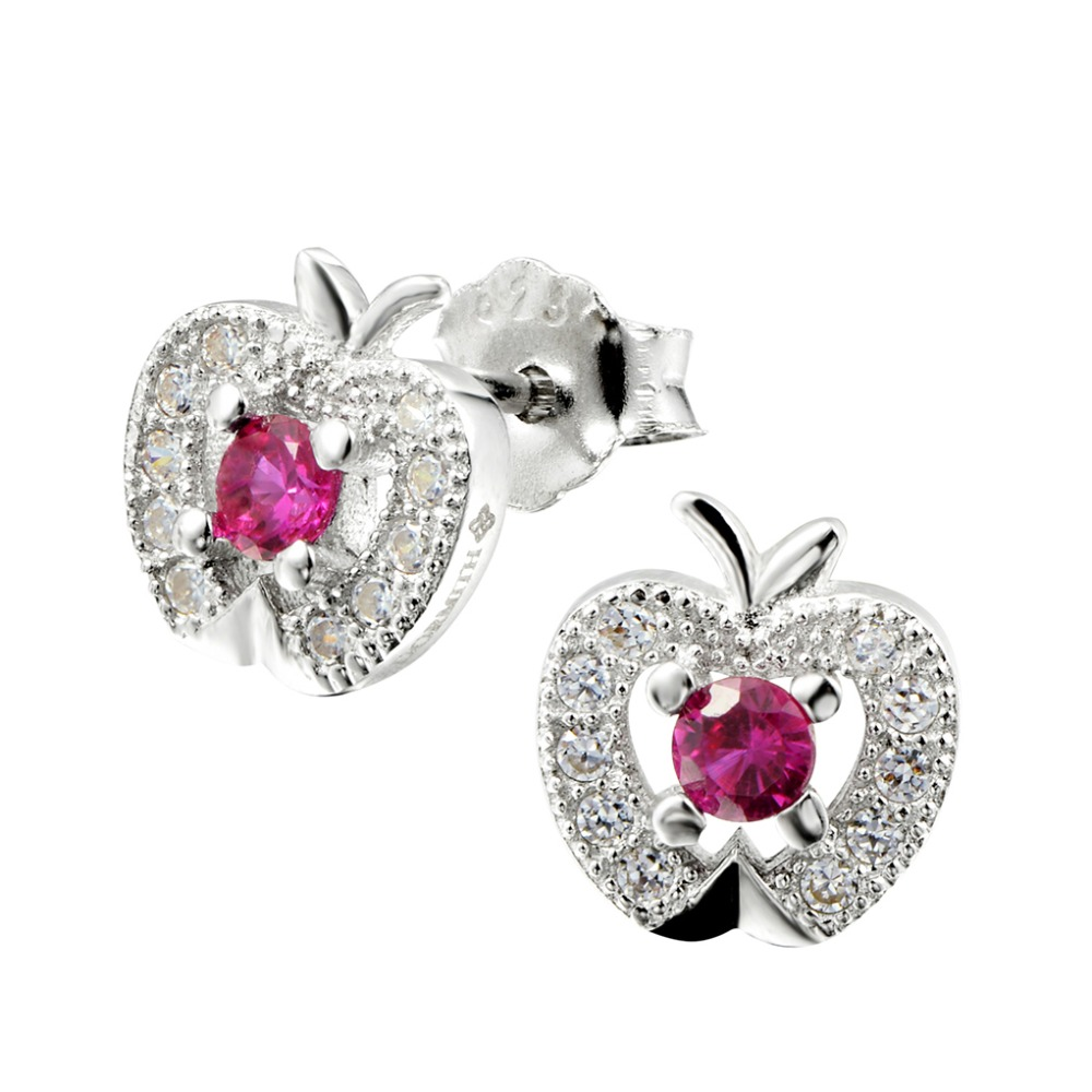 Round and AAA Zirconia Rhodium Plated S925 Silver white apple Stud Earring