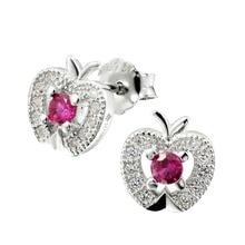 цена на Round and AAA Zirconia Rhodium Plated S925 Silver white apple Stud Earring