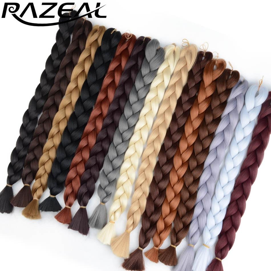 1 Pack Synthetic Braiding Hair Extension 100g 24in Long Kanekalon Jumbo Braids Crochet Hair Heat Resistant Black Brown Gray Blue