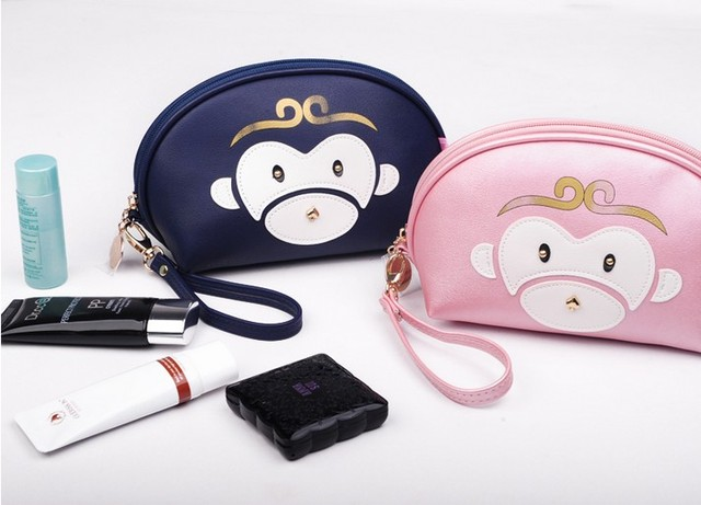 2017 Cartoon Monkey Makeup Bags 12 Colors Cute Cosmetics Pouchs For Travel Ladies Pouch Women Cosmetic Bag