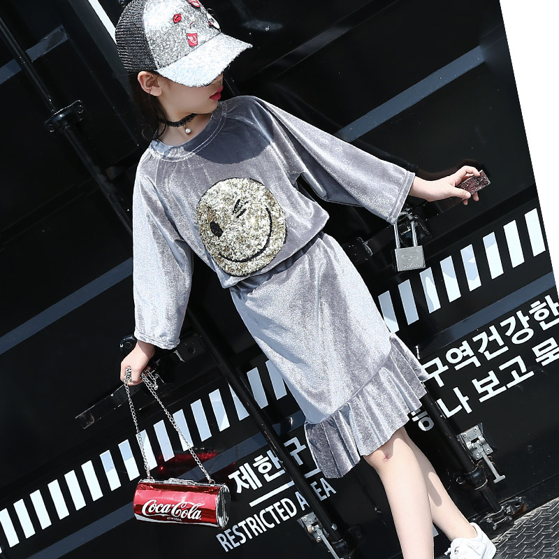 5 6 7 8 9 10 11 12 13 14 15 Years Girls Clothes Set Autumn Long Sleeve Cartoon Shirt + Skirt 2pcs Brand Children Clothing Kids summer girls boys clothes kids set velvet hello kitty cartoon t shirt hoodies pant twinset long sleeve velour children clothing
