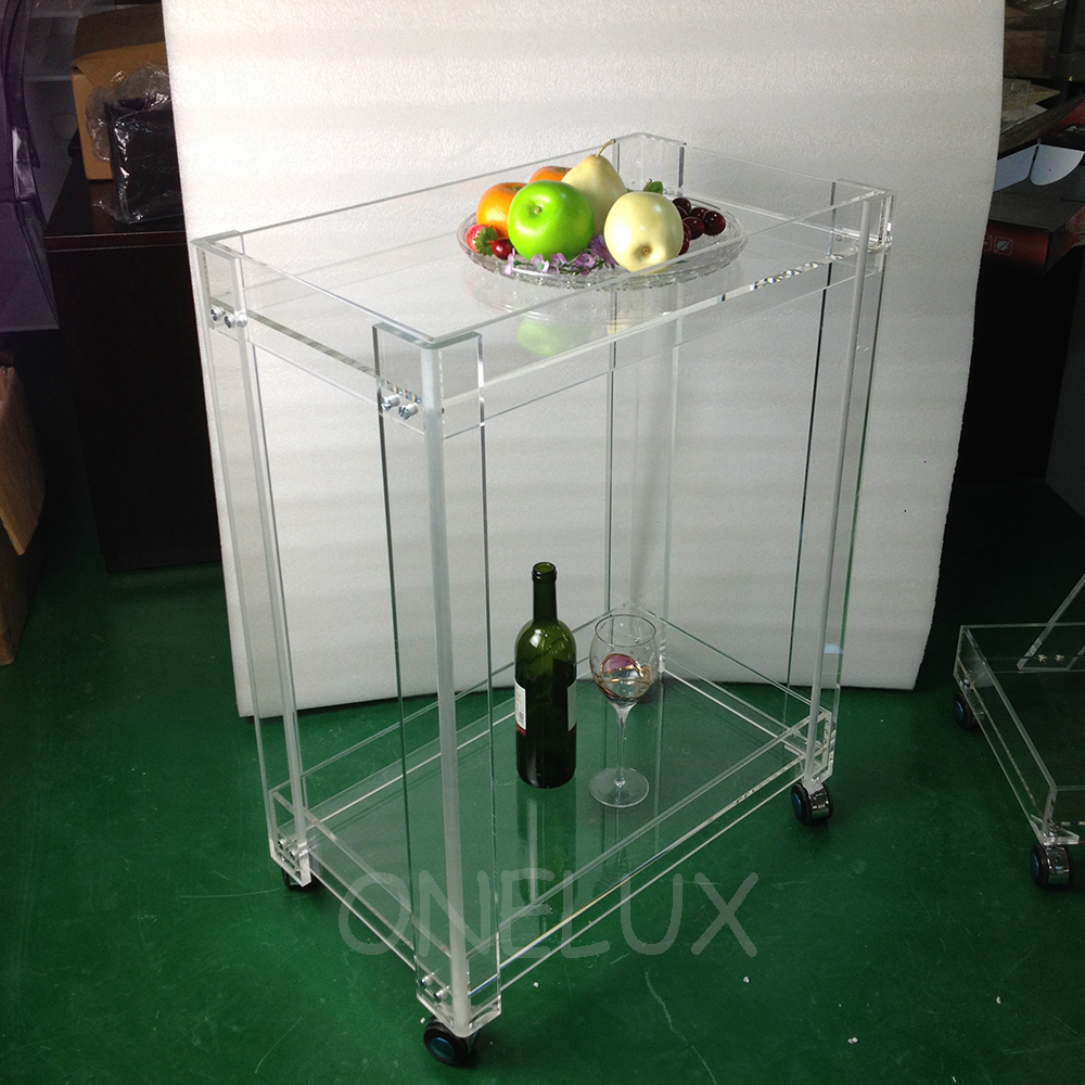 High Transparency Acrylic Home Use Serving Bar Cart On Wheels ,Lucite  Rolling Trolleys For Dining -62W37D82H CM