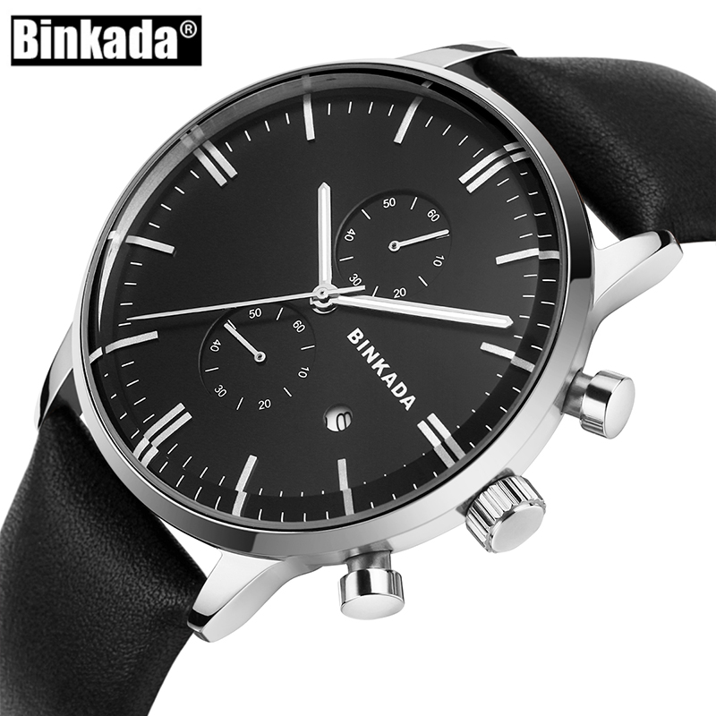 BINKADA Mens Watches Top Brand Luxury Men Military Sport Luminous Wristwatch Chronograph Leather Quartz Watch Relogio Masculino crew neck 3d jacket printed long sleeve sweatshirt