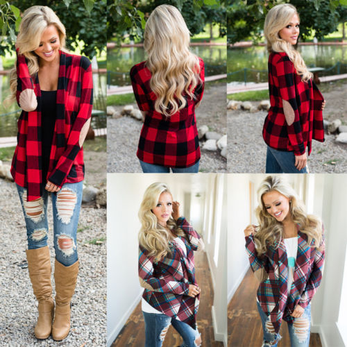 5749e853 Detail Feedback Questions about Women Plaid Shirts Women Casual Button Down  Plaid Check Blouse Long Sleeve Flannel Shirts Lapel Tops Women Ladies  Clothing ...