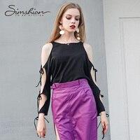 Simshion 2017 Women Sexy Open Arms Blouse Shirts Fashion Bandage Long Sleeve Black Solid Chiffon Ladies