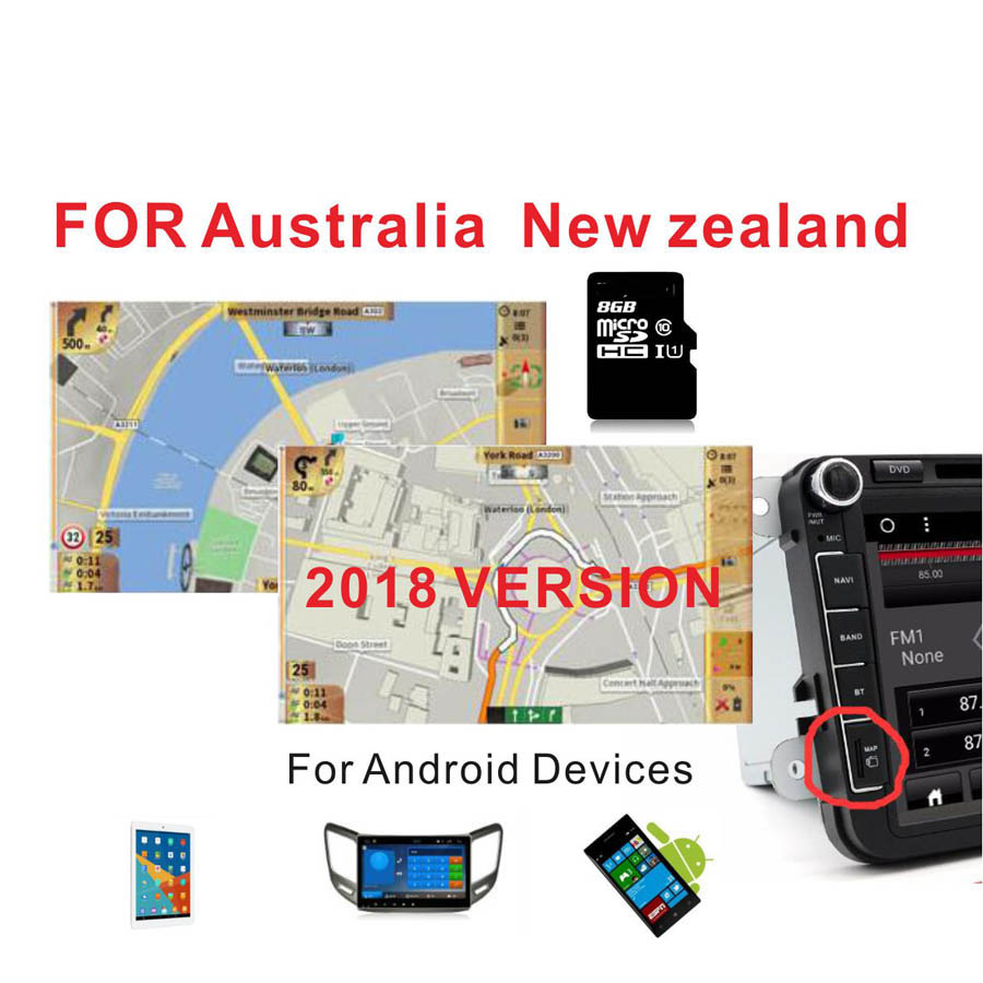 2018 version Australia New Zealand font b GPS b font MAP with 8G card for Android