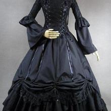 Черный одежда с длинным рукавом оборками 18th века готический викторианской Платья для женщин Хэллоуин викторианской бальные платья/платье партии