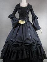 2015 Black Long Sleeves Ruffles 18th Century Gothic Victorian Dresses Halloween Victorian Ball Gowns Party Dress