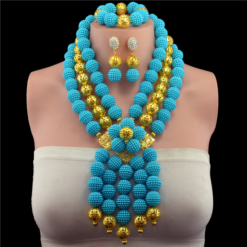 New Genuine Plastic Pearl Ball Beads Necklace Jewelry Nigerian Wedding African Beads Jewelry Set lake blue Beads Designs