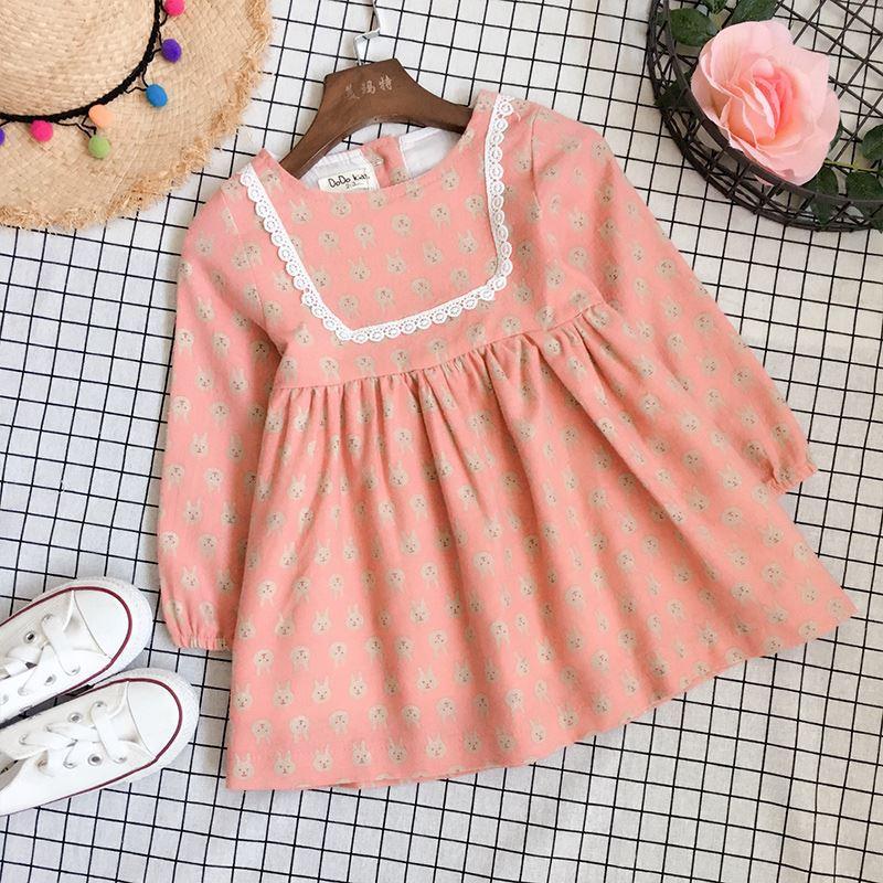 Retail 2017 Spring Autumn Baby Girl Animals Printes Dress Rabbit Clothing Long Sleeves Ruffles Princess Cute Dresses for Girls