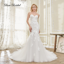 Rosabridal Mermaid Wedding Dress Strapless Sweetheart Neckline Ivory beading lace appliques over tulle Trumpet Bridal Gown