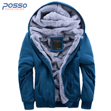 Hot sales cotton fur lining coat Korean male fashion winter faux fur hoodies men warm fleece lining tracksuit