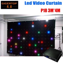 Fire Proof P18 3M 4M LED Video Curtain With Off Line Controller For DJ Wedding Backdrops