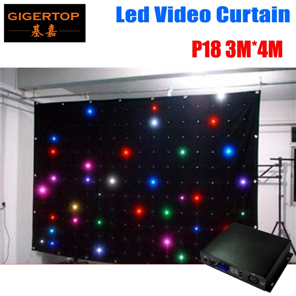 Fire Proof P18 3M 4M LED Video Curtain With Off Line Controller For DJ font b
