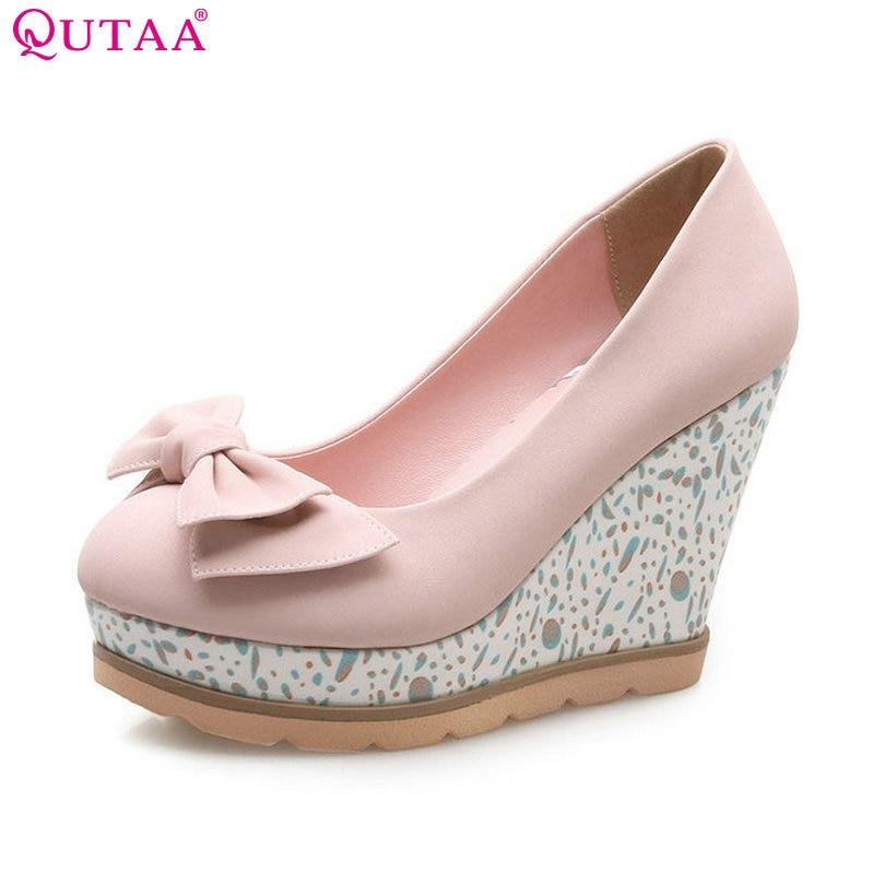 QUTAA 2018 Women Pumps PU Leather Woman Shoes Slip On Platform Wedge High Heel Butterfly-Knot Ladies Wedding Pumps Size 34-42