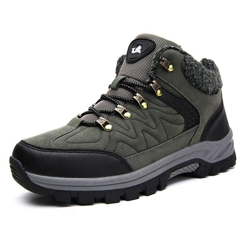 Para Homens Moda verde 2018 38 Sapatos Exército Quentes Botas De Até Size Pele Plus Inverno Preto Neve Com Da Rendas 48 Hombre 6dwqw7C