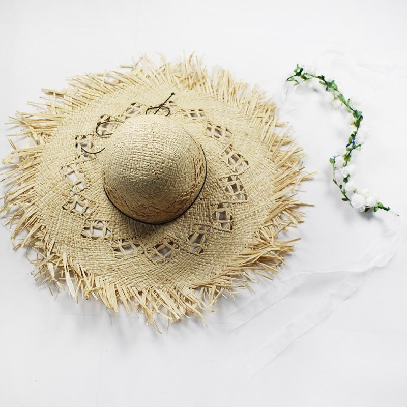 Natural gran ala ancha sombreros de paja rafia tejido círculo franja ...