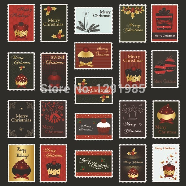 Christmas Stamps Adhesive sticker Paper stickers Indoor ornament, decoration.Xmas crafts Home Decor Removable wall sticker