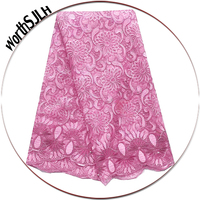 Floral Net French Lace Fabric Magenta Nigeria Lace Fabric Baby Pink High Quality African Lace 2019 Material For Party Dress