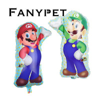 50pcs/lot Large size Super Mario Balloons Baby shower girl boy helium balloon Happy Birthday Party Decorations kids Classic Toys
