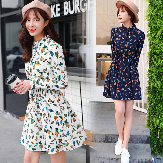 52f4dcfb95d Spring Floral Print Dresses For Ladies Japanese Korean Fashion Vintage Chiffon  Women Plus Size Casual Slim Sweet Mini Dress