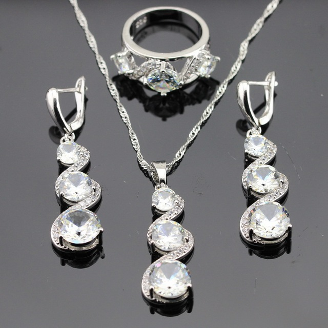Christmas Jewelry Sets Silver Color Created White Toapz Necklace Pendant Long Drop Earrings Rings For Women Free Gift Box